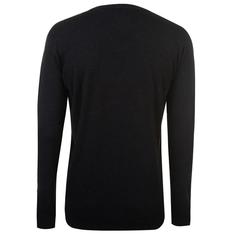 Lee Cooper V Neck Knitted Jumper Mens Black Marl