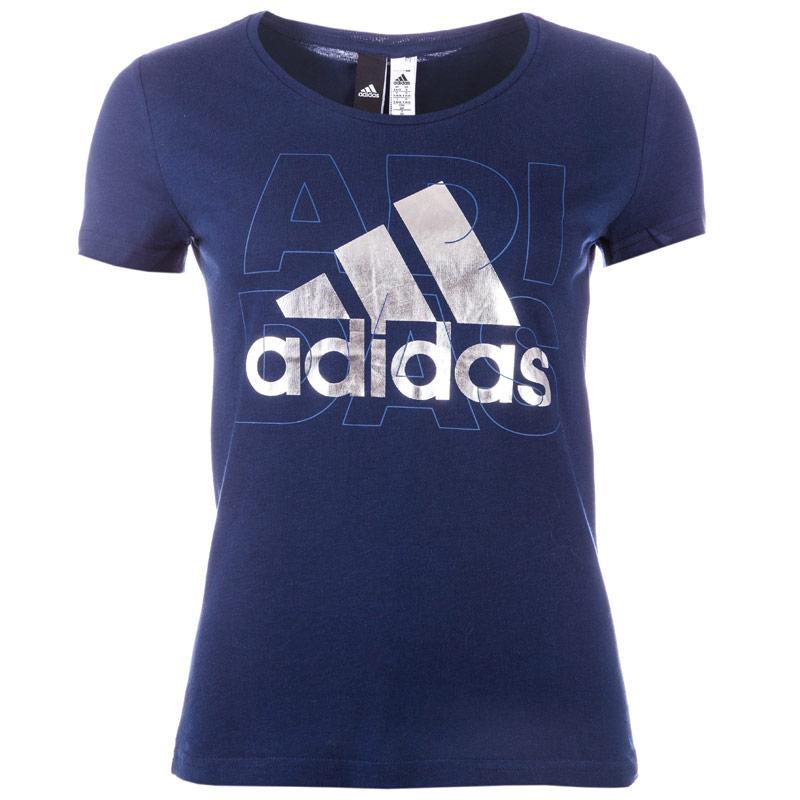 Adidas Performance Womens Foil Logo T-Shirt Navy