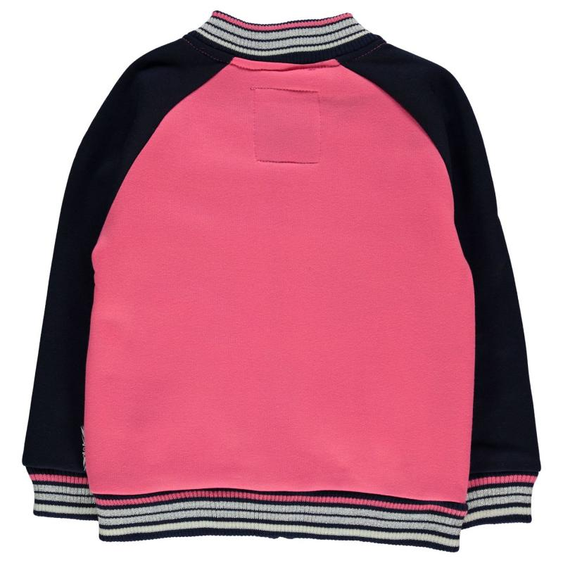 Lee Cooper Glitzy Baseball Sweater Infant Girls Pink/Navy