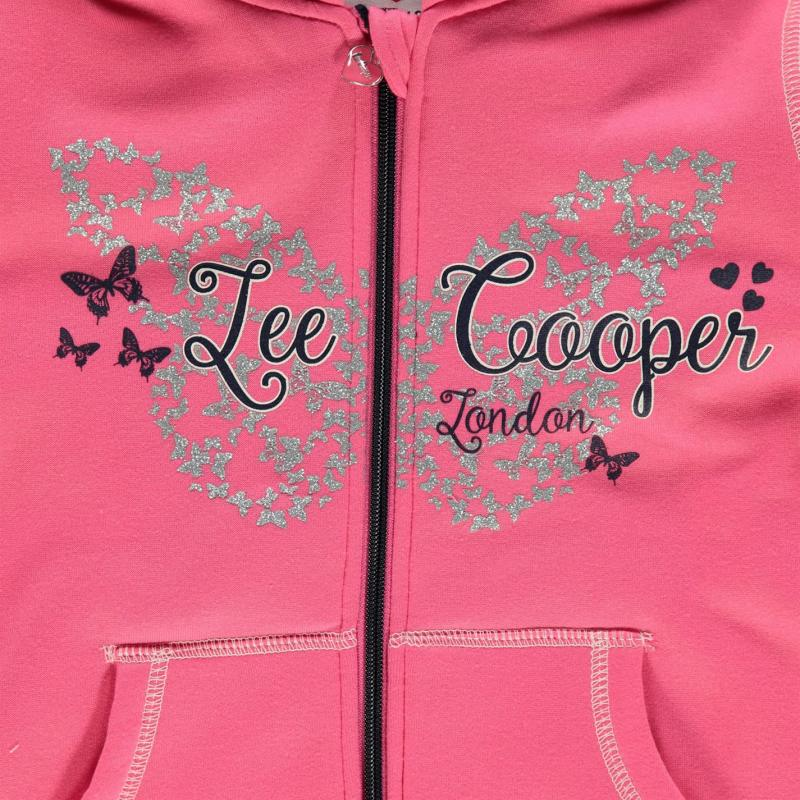 Lee Cooper Glitzy Zipped Hooded Sweater Junior Girls Pink