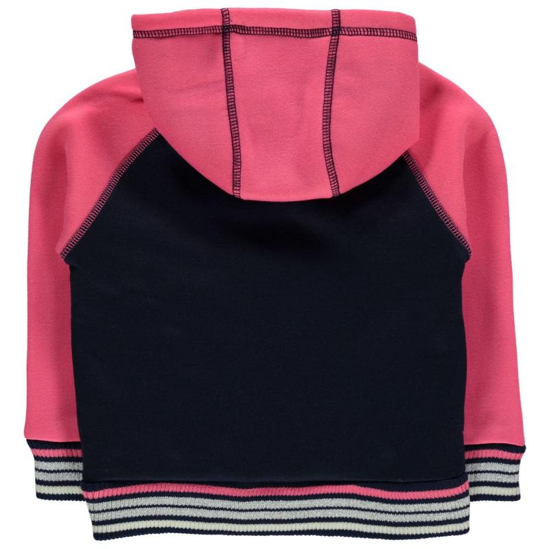 Lee Cooper Glitzy Zipped Sweater Infant Girls Navy/Pink