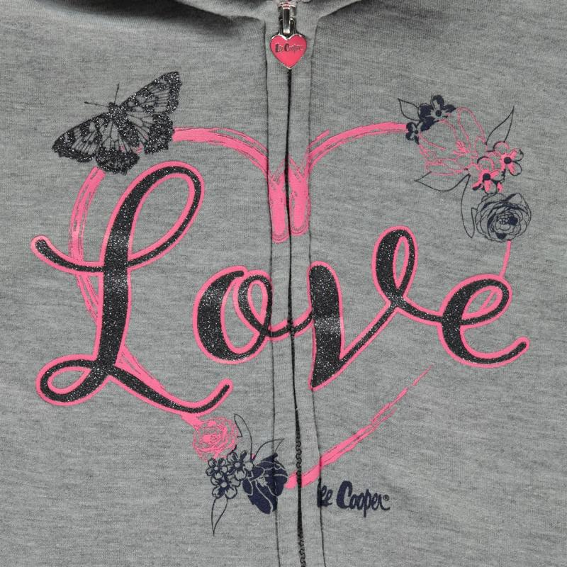 Lee Cooper Glitzy Zipped Sweater Infant Girls Grey Marl