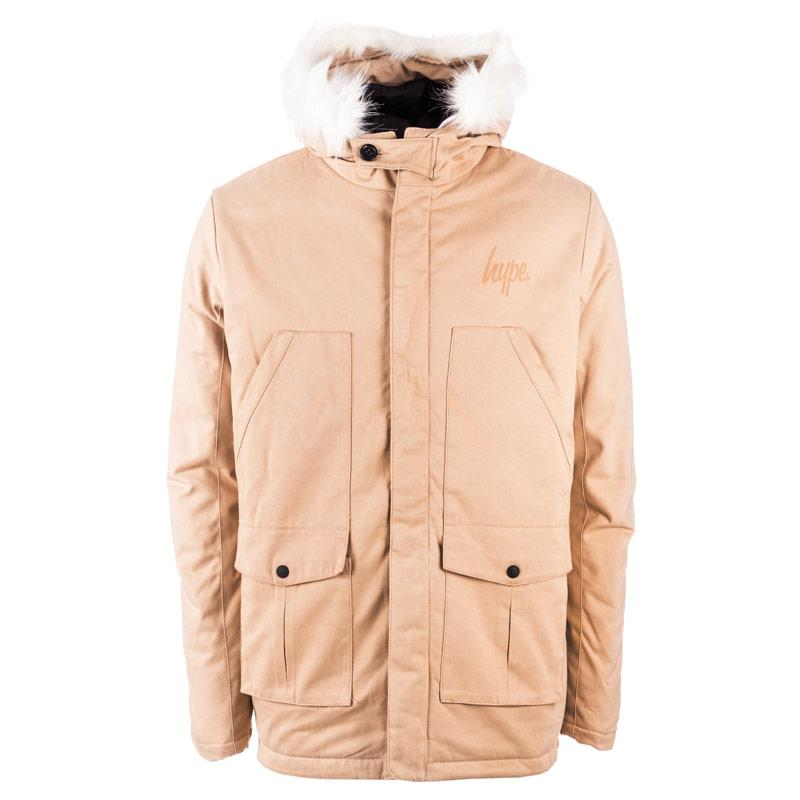 Hype Mens Faux Fur Hood Parka Jacket Sand