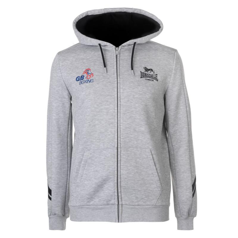 de2891e704e Mikina Lonsdale GB Boxing Zipped Hoody Mens Grey
