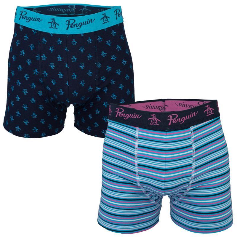 Spodní prádlo Original Penguin Mens 2 Pack Boxer Shorts Navy