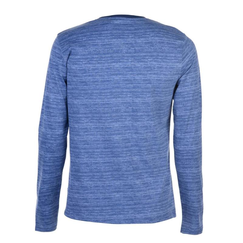 Tričko Lee Cooper Long Sleeve AOP Textured T Shirt Mens Blue