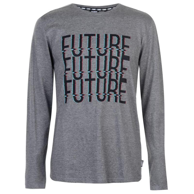 Tričko Fabric Long Sleeve Slogan Top Mens Grey Marl