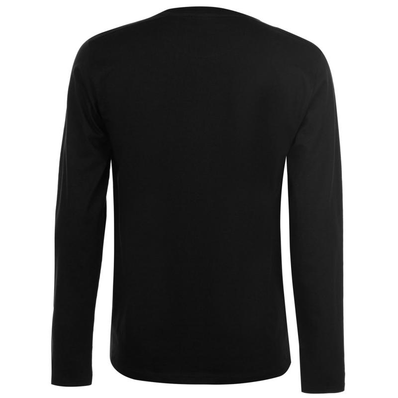 Tričko Fabric Long Sleeve Slogan Top Mens Black Velikost - L