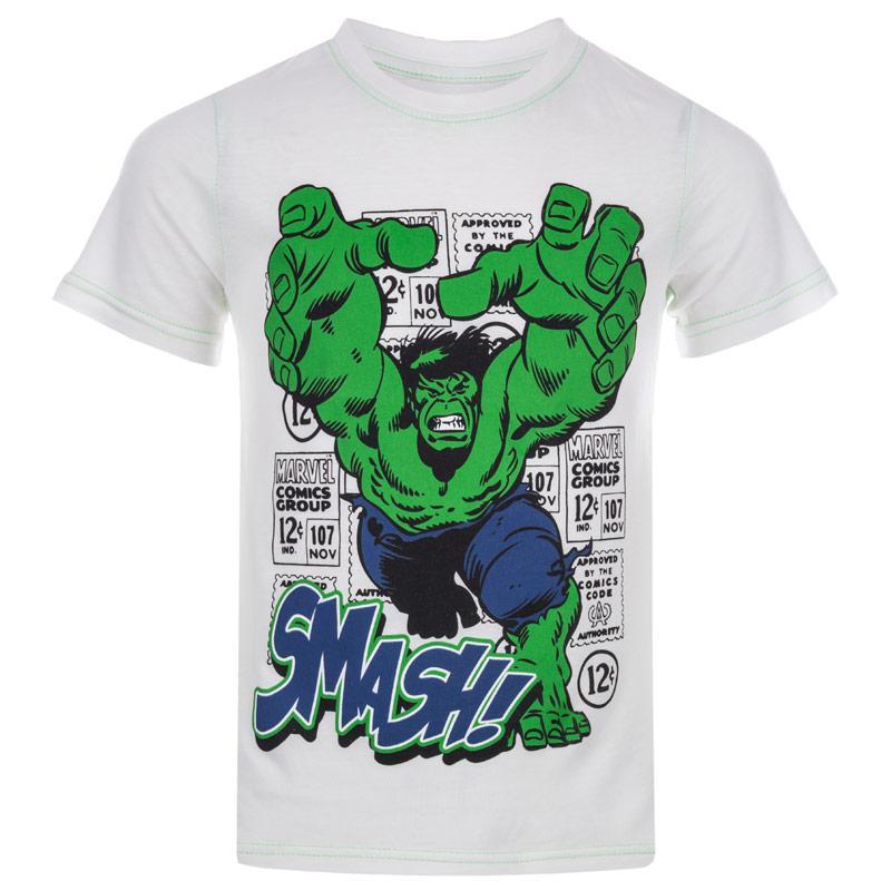 Tričko Marvel Junior Boys Hulk Smash T-Shirt White Green