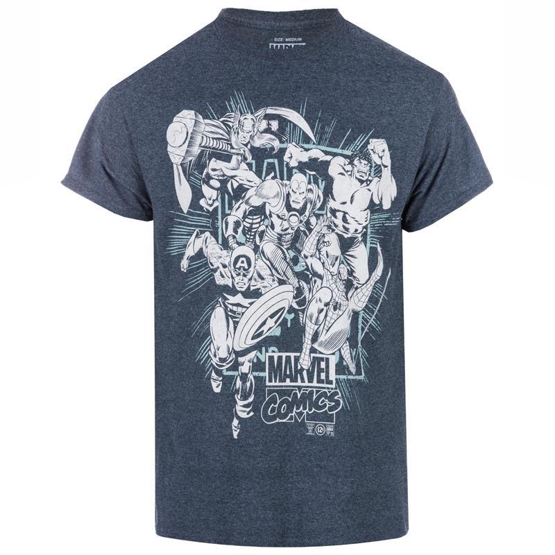 Tričko Marvel Mens Band Of Heroes T-Shirt Grey Heather