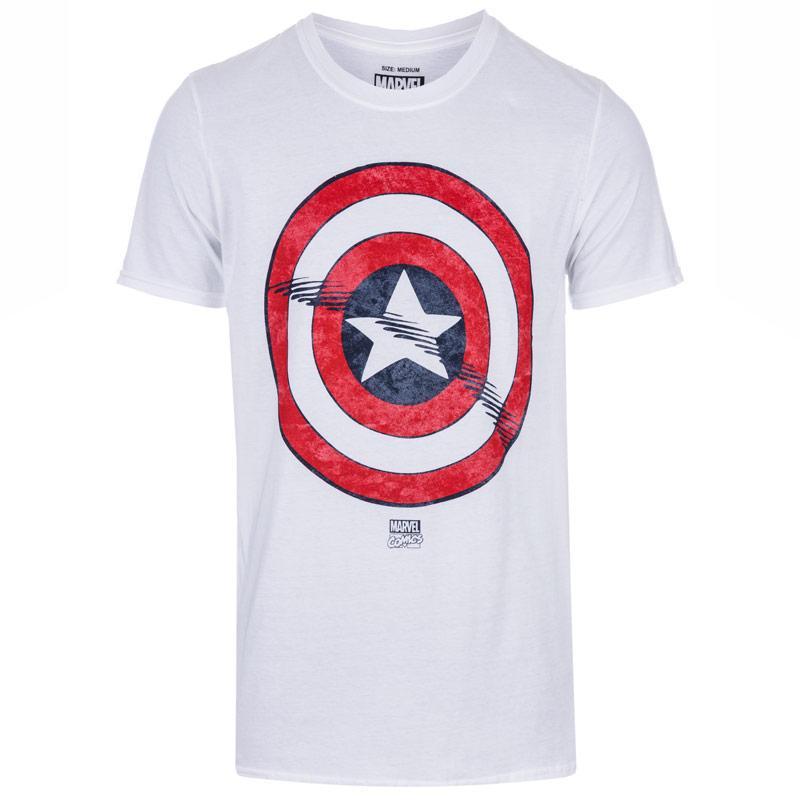 Tričko Marvel Mens Captain America Shield T-Shirt White
