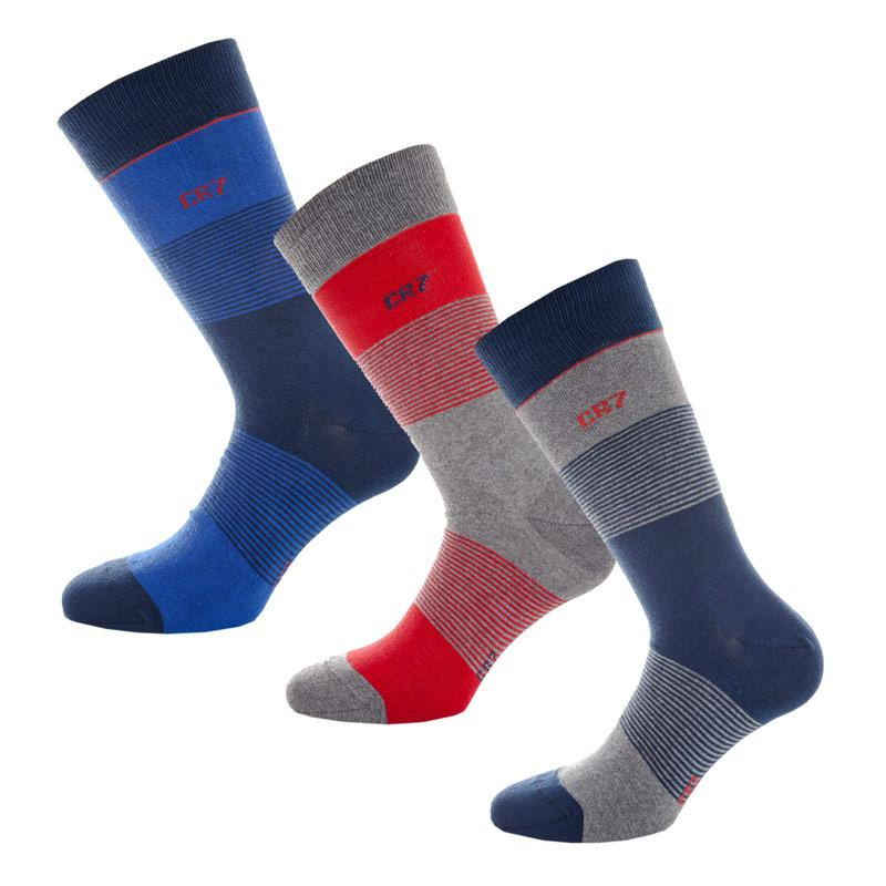 Ponožky Mens CR7 Boxed 3 Pack Socks Blue red