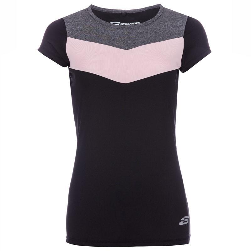 Skechers Womens Sienna Cap Sleeve T-Shirt Black