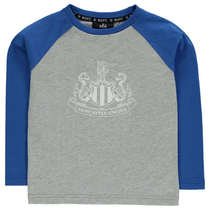 NUFC Newcastle United Long Sleeve T Shirt Childrens Grey/Blue