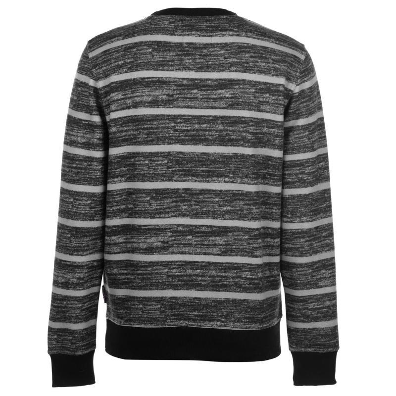 Mikina Lee Cooper Textured AOP Crew Sweater Mens Black/Char