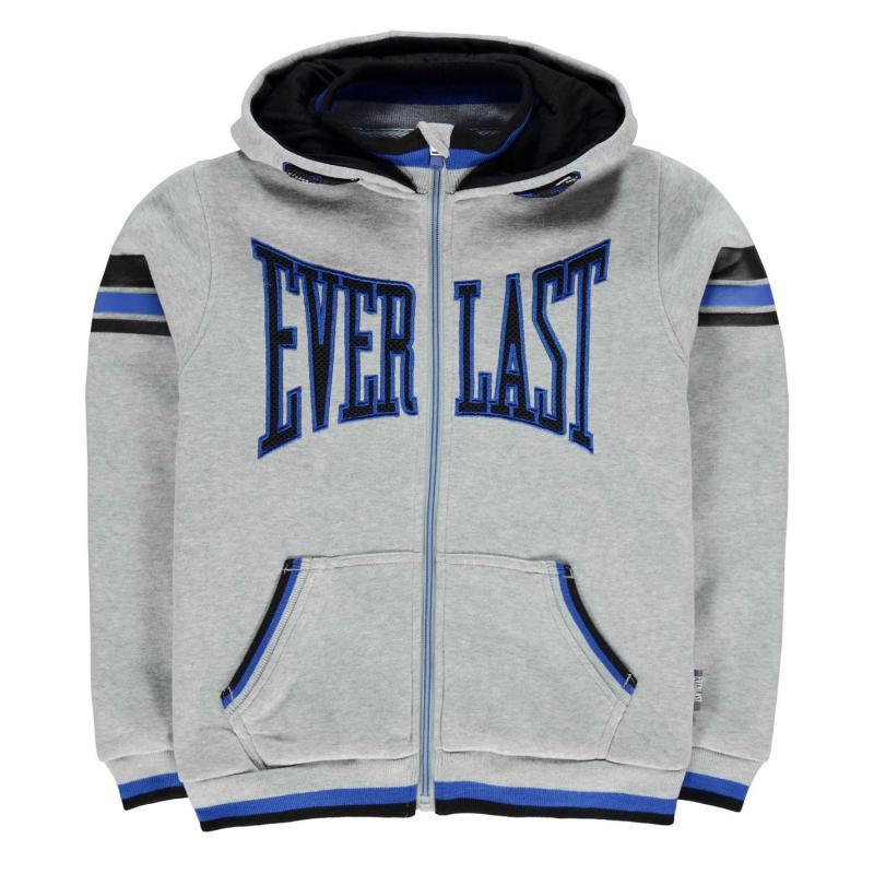 Mikina Everlast Large Logo Zip Hoody Junior Boys Grey Marl