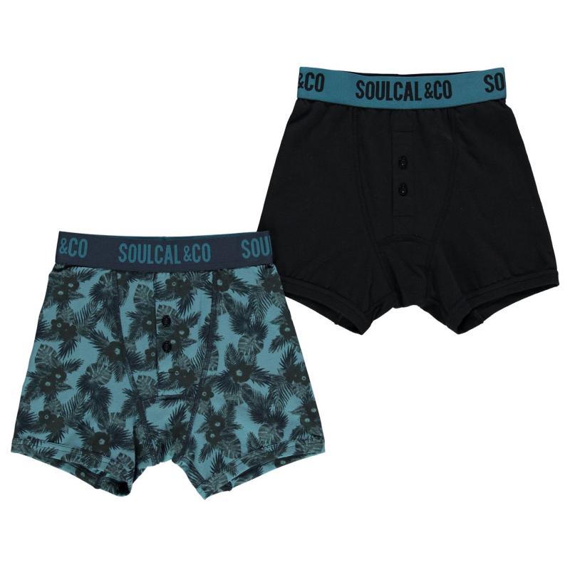 Spodní prádlo SoulCal Boxers Pack of 2 Junior Boys Blue/Stripe