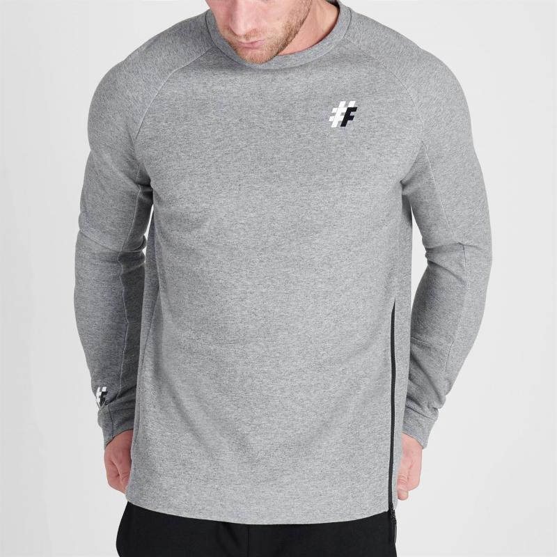 Mikina Five Street Zip Crew Sweatshirt Mens Grey Marl