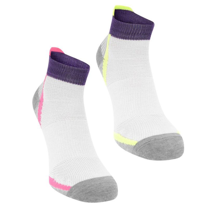 Karrimor Support Socks 2 Pack Ladies White/Yell/Pink