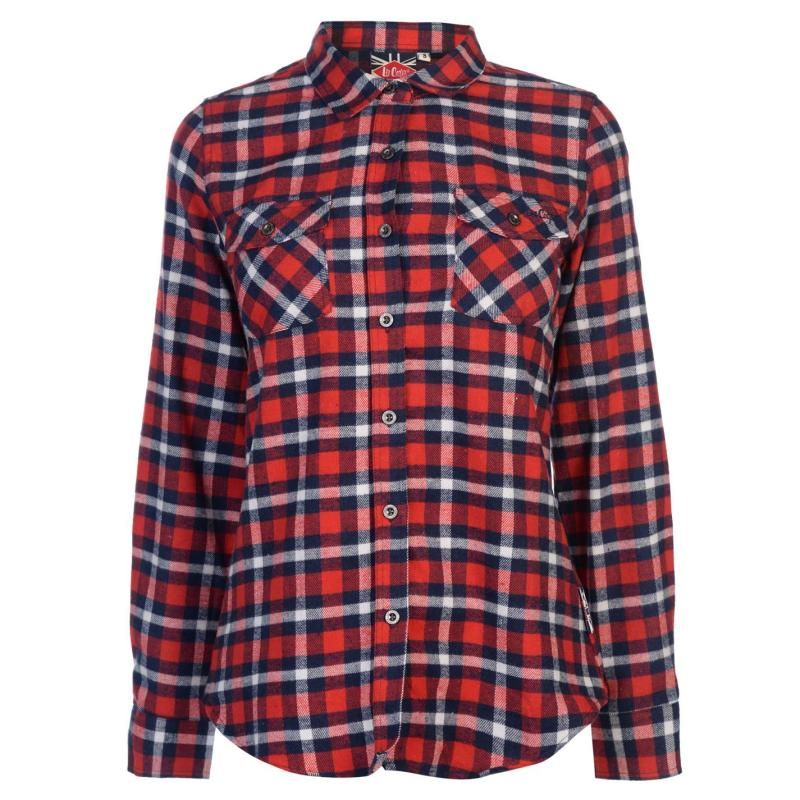 Lee Cooper Flannel Shirt Ladies Navy/Red/White
