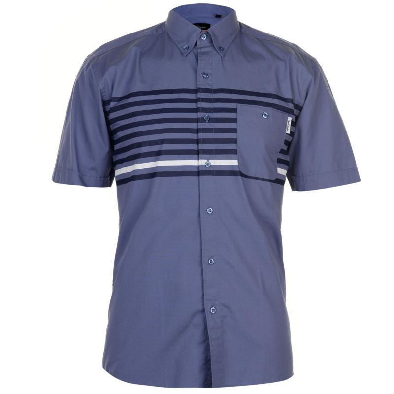 Pierre Cardin Fashion Short Sleeve Shirt Mens Black Geo