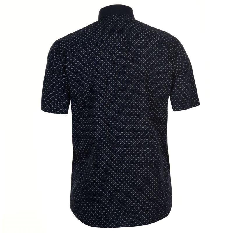 Pierre Cardin Fashion Short Sleeve Shirt Mens Navy Geo