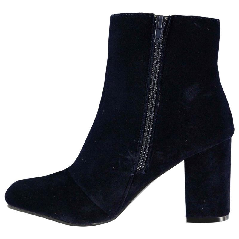 Rock and Rags Velvet Heeled Boots Navy