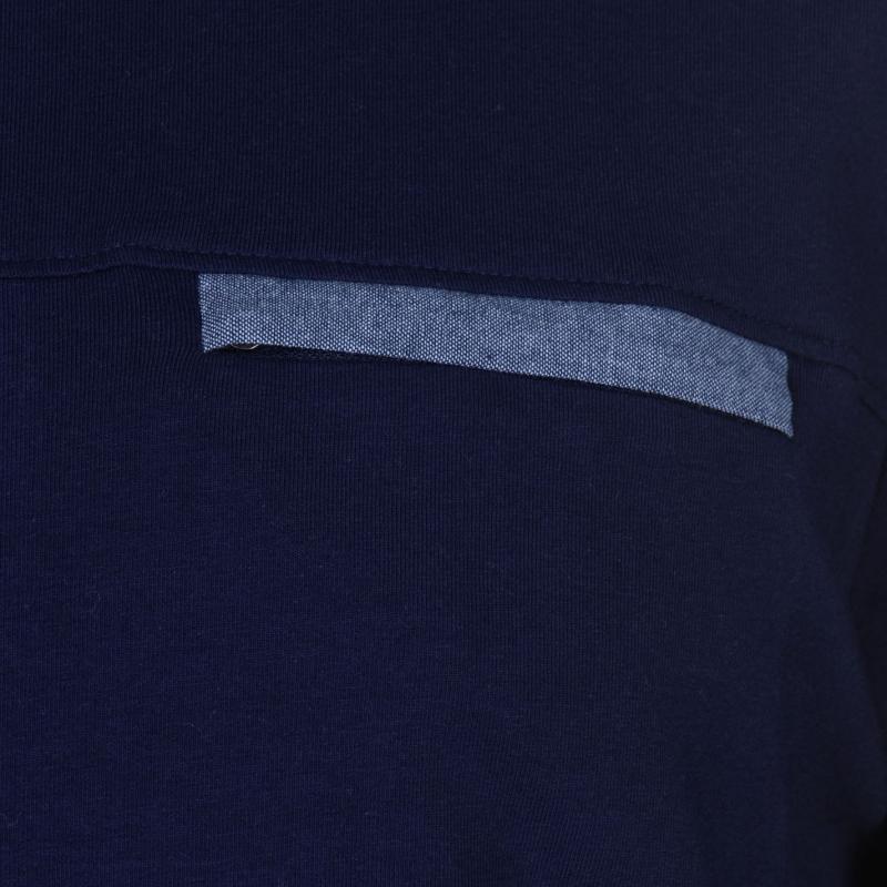 Tričko Kangol Chambray Long Sleeve Panel T Shirt Mens Navy