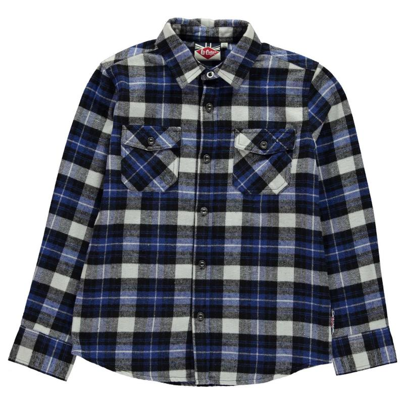 Košile Lee Cooper Flannel Shirt Junior Black/Blue/Wht