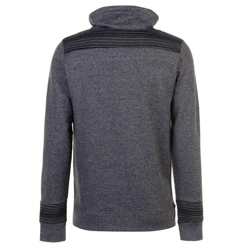 Mikina Pierre Cardin Marl and Stripe Shaw Sweater Mens Grey Marl