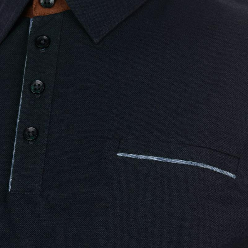 Pierre Cardin Long Sleeve Slub Polo Shirt Mens Navy