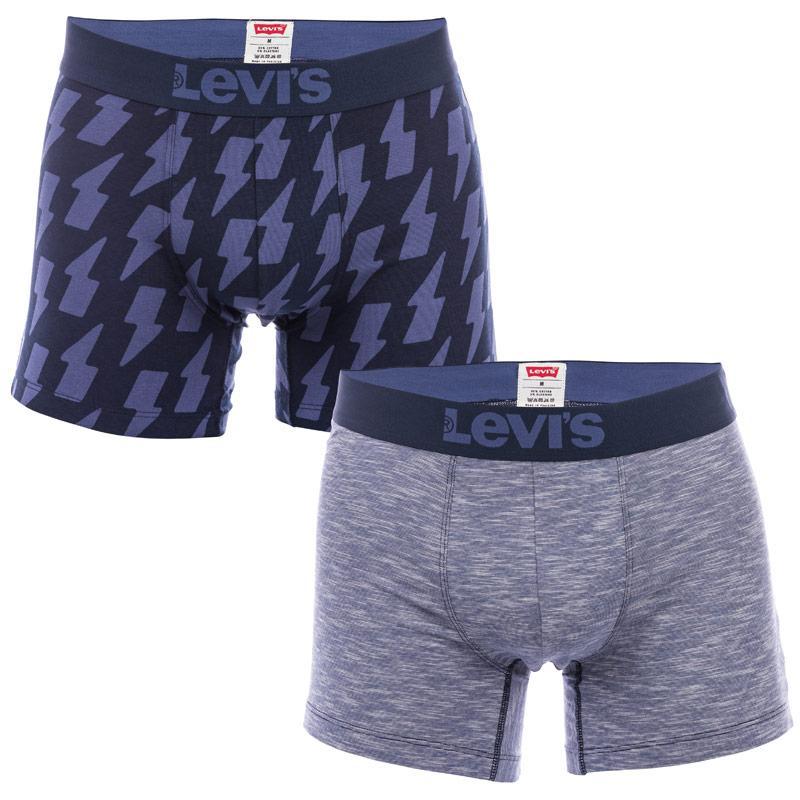 Spodní prádlo Levis Mens Thunderbolt 2 Pack Boxer Shorts Blue