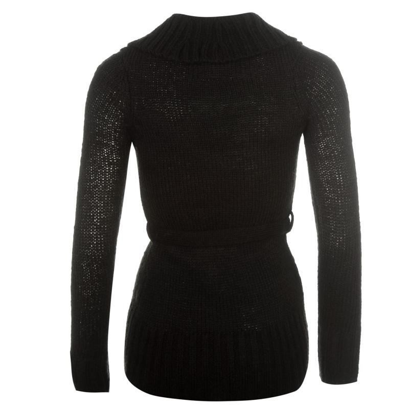 Svetr Lee Cooper Belted Cowl Knit Jumper Ladies Black
