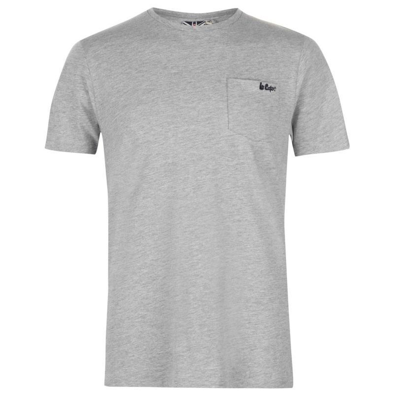 Tričko Lee Cooper Essentials Pocket T Shirt Mens Grey Marl