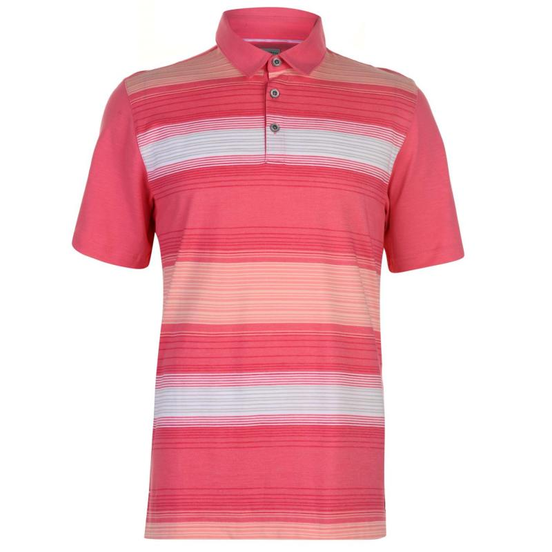 Ashworth Ombre Striped Golf Polo Shirt Mens Pink
