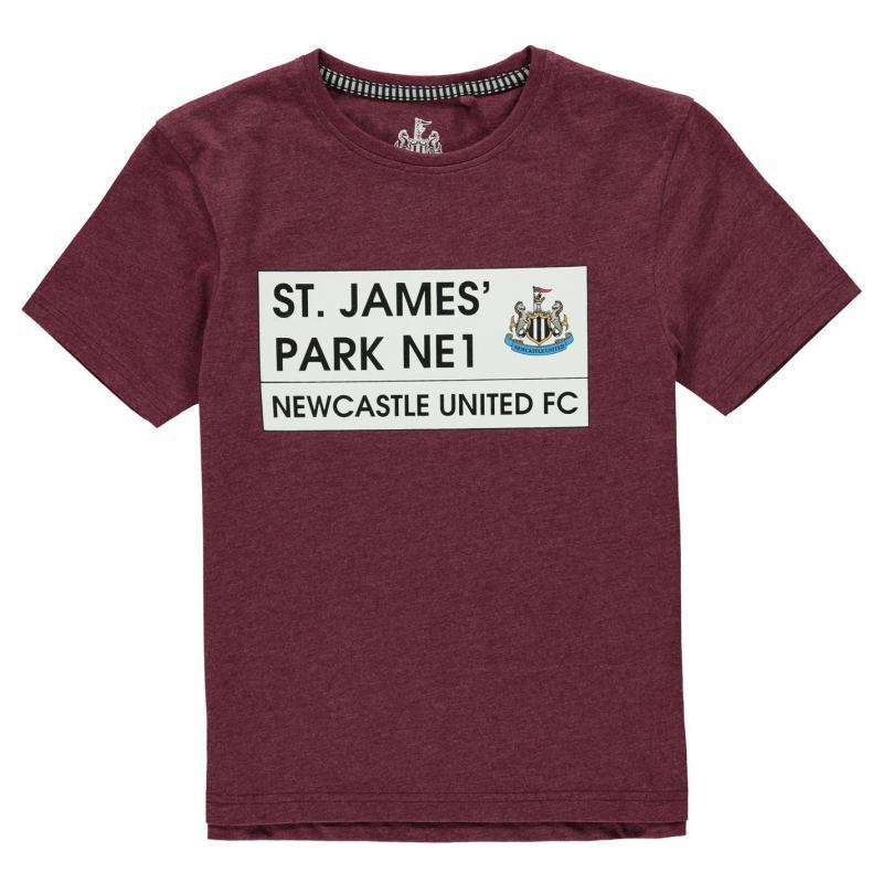Team St James Park T Shirt Junior Boys Burgundy Marl