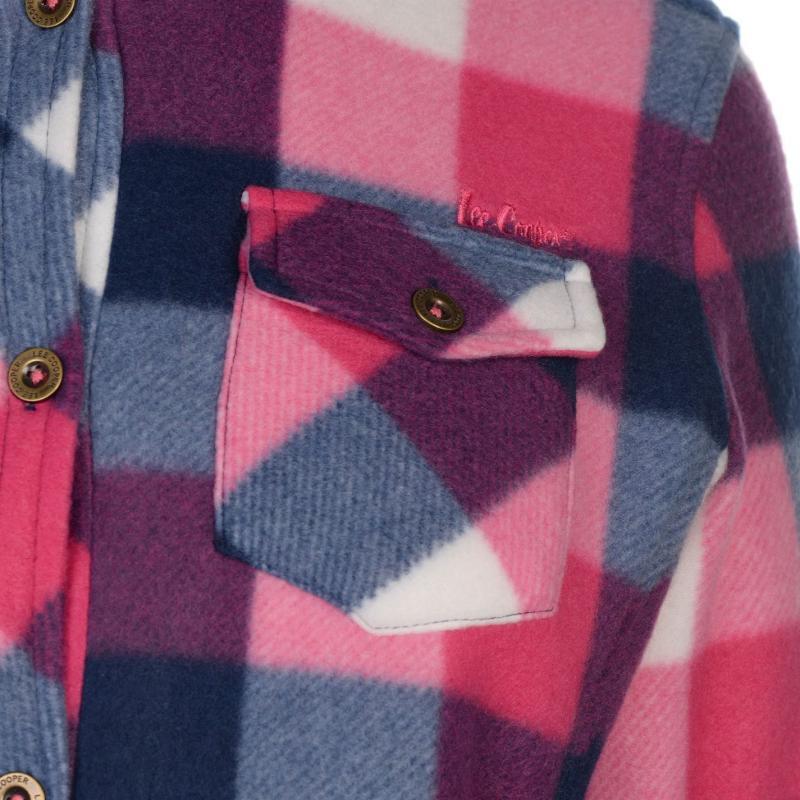 Košile Lee Cooper Fleece Lined Shirt Ladies Navy/Pink/Ecru