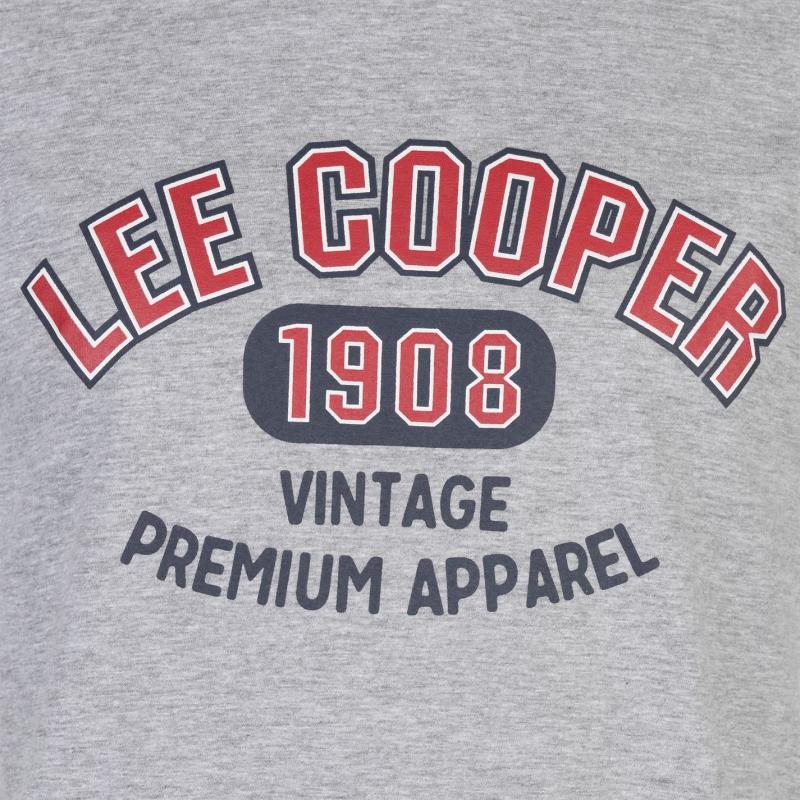 Tričko Lee Cooper Large Logo Vintage T Shirt Mens Grey Marl