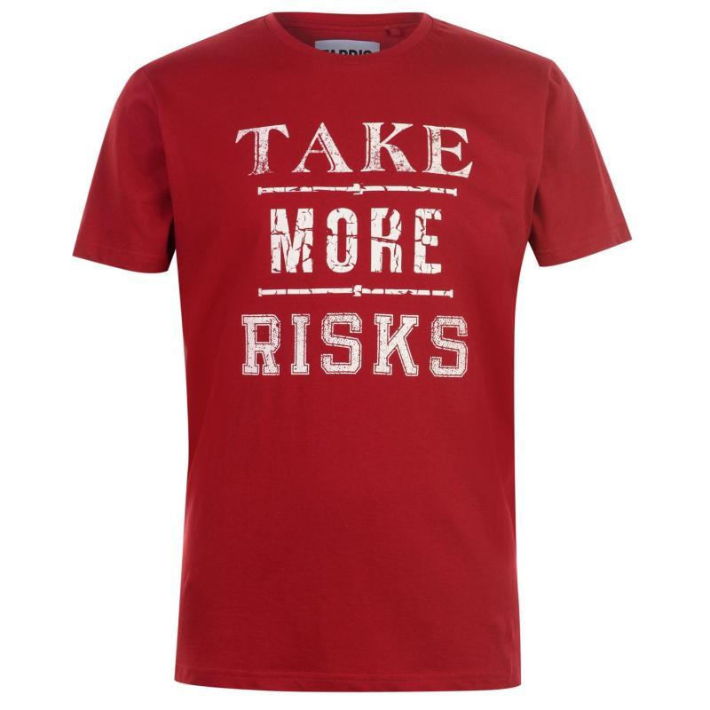 Tričko Fabric Slogan T Shirt Mens Dark Blue Velikost - XL