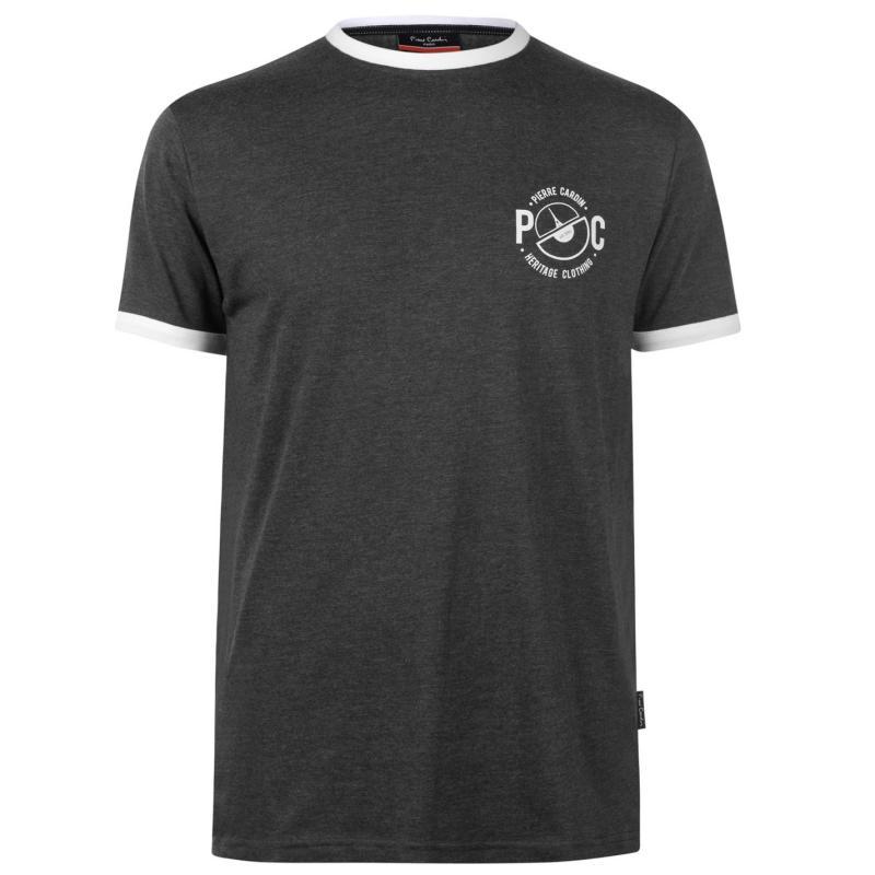 Tričko Pierre Cardin Printed Ringer T Shirt Mens Charcoal Marl
