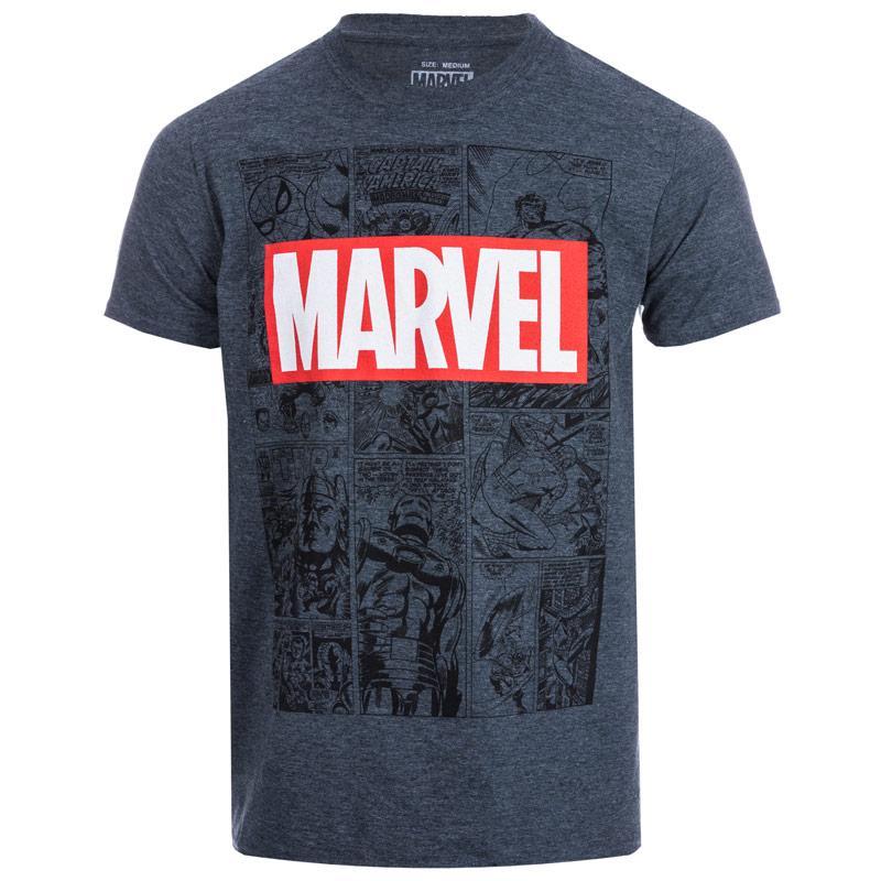 Tričko Marvel Mens Mono Comic T-Shirt Grey