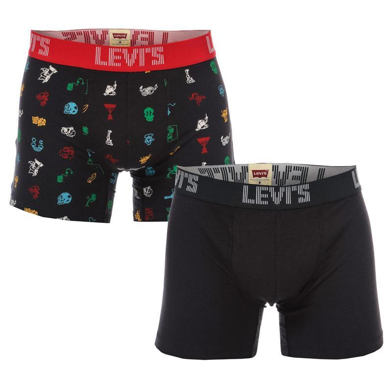 Spodní prádlo Moschino Mens 2 Pack Boxer Shorts Black-White