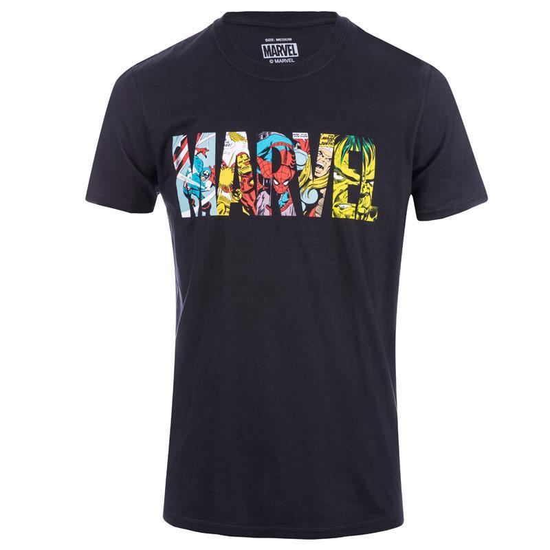 Tričko Marvel Mens Comic Strip T-Shirt Black