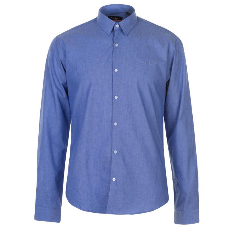Pierre Cardin Marl Fabric Long Sleeve Shirt Mens Light Blue
