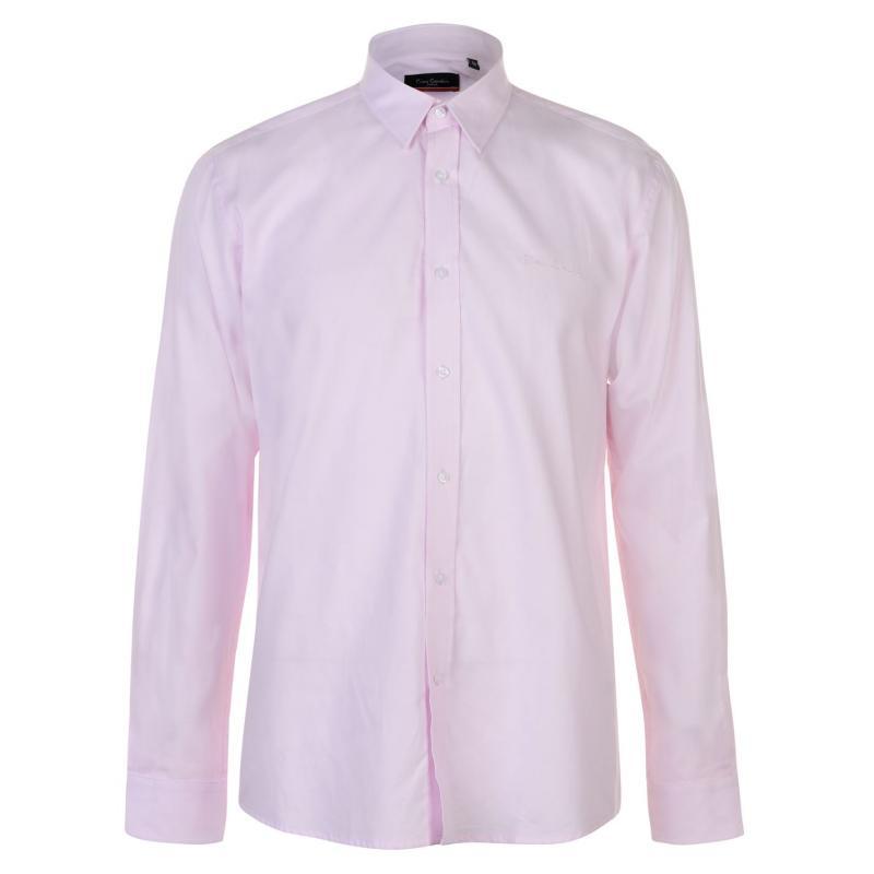 Pierre Cardin Long Sleeve Oxford Shirt Mens Pink