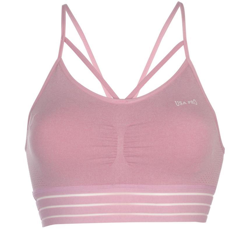 USA Pro Padded Seamless Crop Top Ladies Chalk Pink