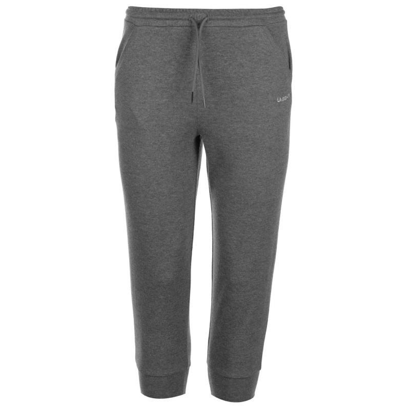 LA Gear Three Quarter Interlock Jogging Pants Ladies Charcoal