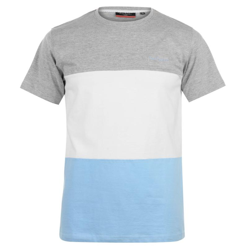 Tričko Pierre Cardin Large Block T Shirt Mens Gry M/Wht/Blue