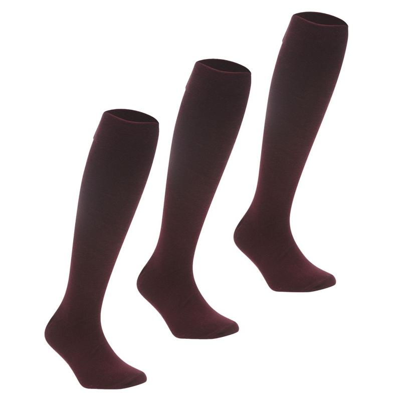 Crafted 3 Pack Knee High Socks Child Girls Wine