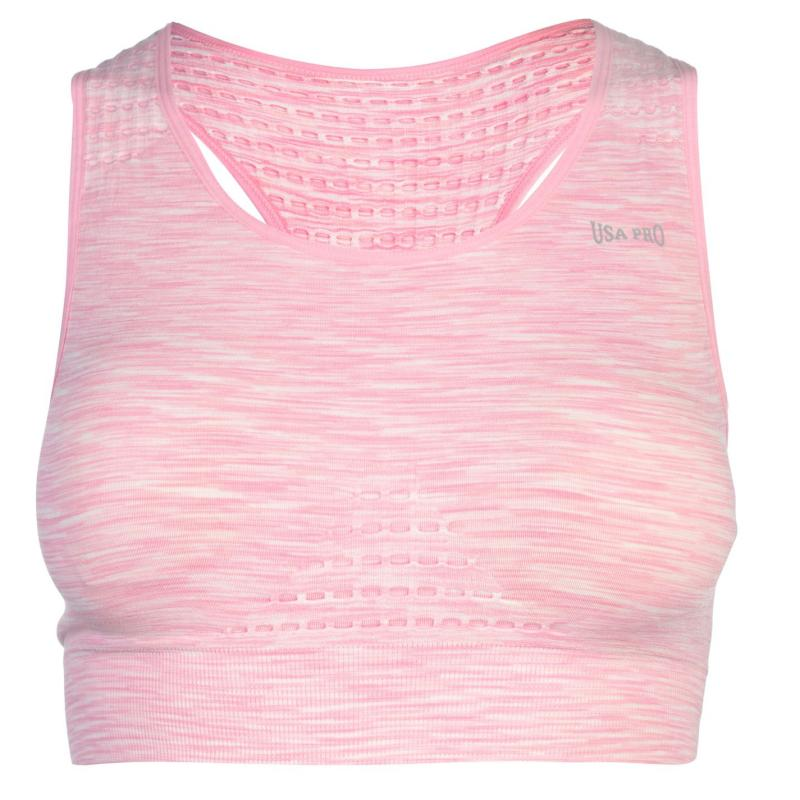 USA Pro Seamless Crop Top Ladies Chalk Pink